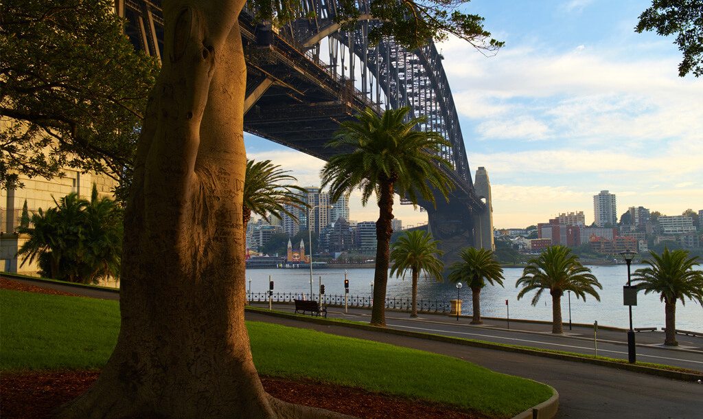 Sydney Harbour bridge, viewed from The Rocks at sunset