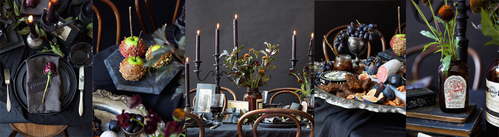 Table set for halloween. Black on black.