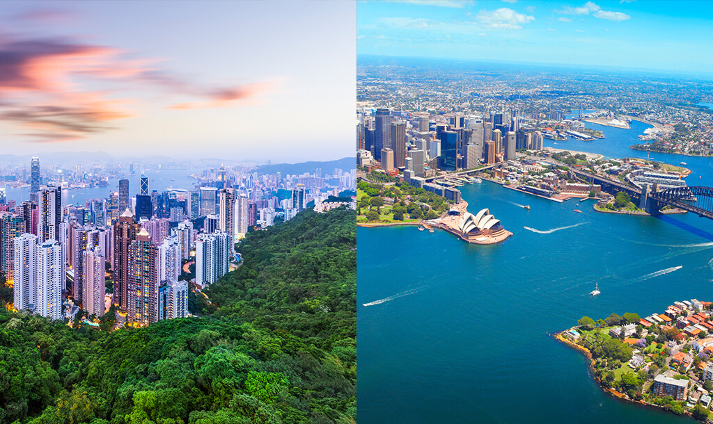 Sydney and Hong Kong skylines