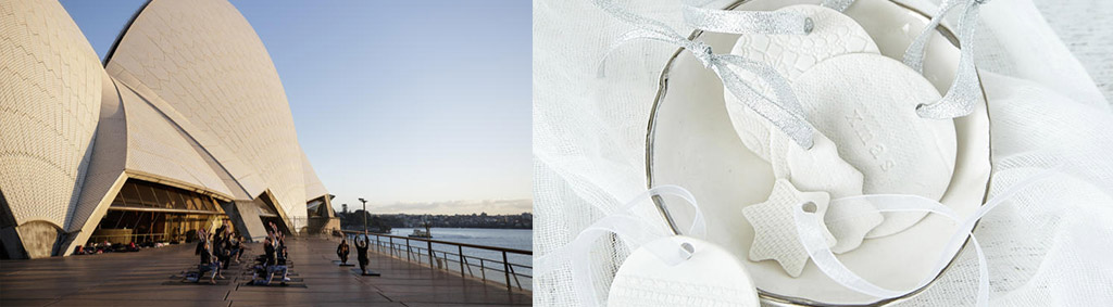 two pictures, the Sydney Opera House and ceramic Christmas decorations.
